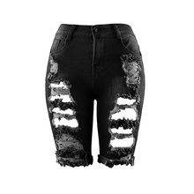 e267a6eca3fa8 Litthing nueva cintura alta mujeres medio vaqueros estilo Europa  personalidad moda calle agujeros Stretch calzoncillos Slim
