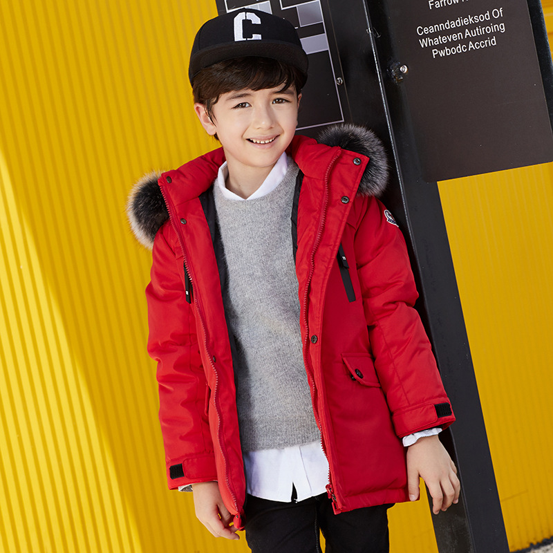 Brand Fashion Children's Down Jackets Coat Fur Collar Winter Boys Coat Thick Duck Down Feather Jacket Outerwear Kids Snow Wear new winter women long style down cotton coat fashion hooded big fur collar casual costume plus size elegant outerwear okxgnz 818