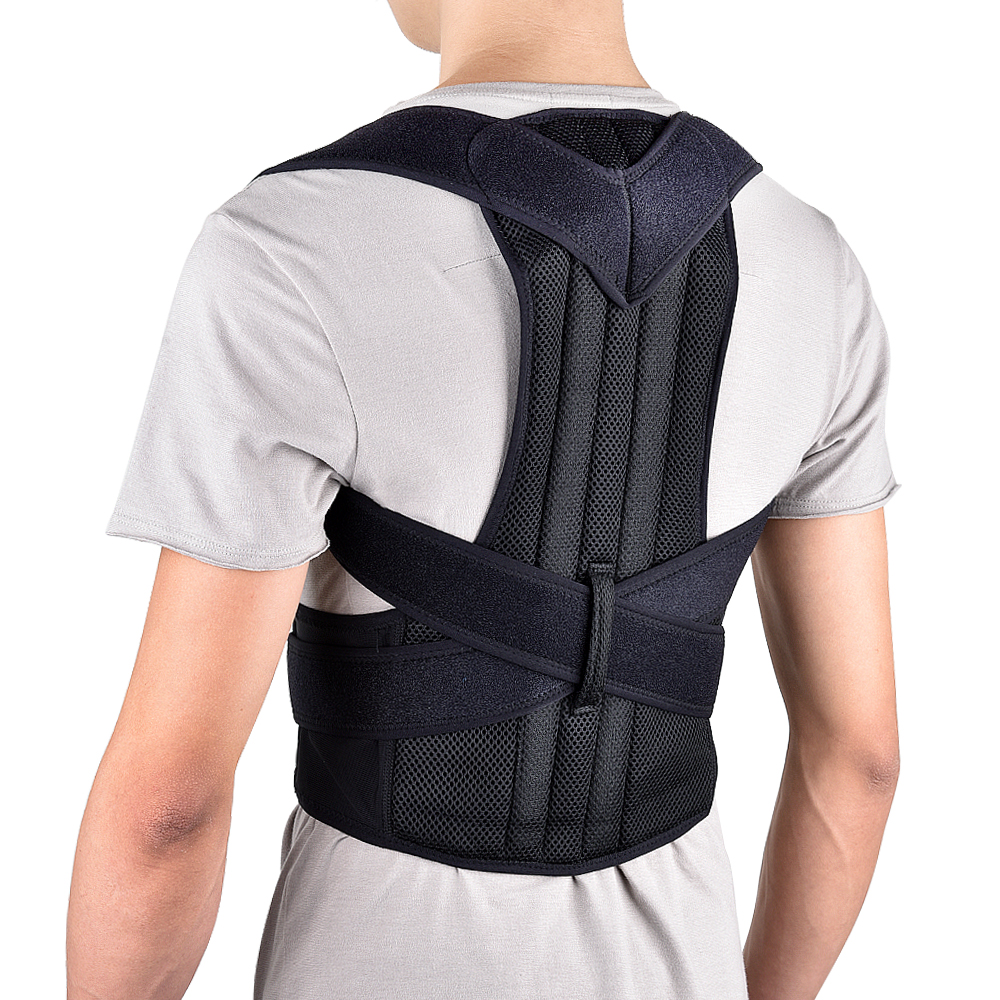 Adjustable Back Brace Posture Corrector Back Support Shoulder Belt Lumbar Spine Support Belt Posture Correction For Adult aibikang steel posture corrector back brace and adjustable double pull shoulder back support belt xxl 52 black
