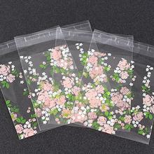 100pcs Rose Flowers Christmas Baking Candy Box Plastic Gift Bag Baby Shower Cookie Cellophane Packing Wedding Party Favors L20
