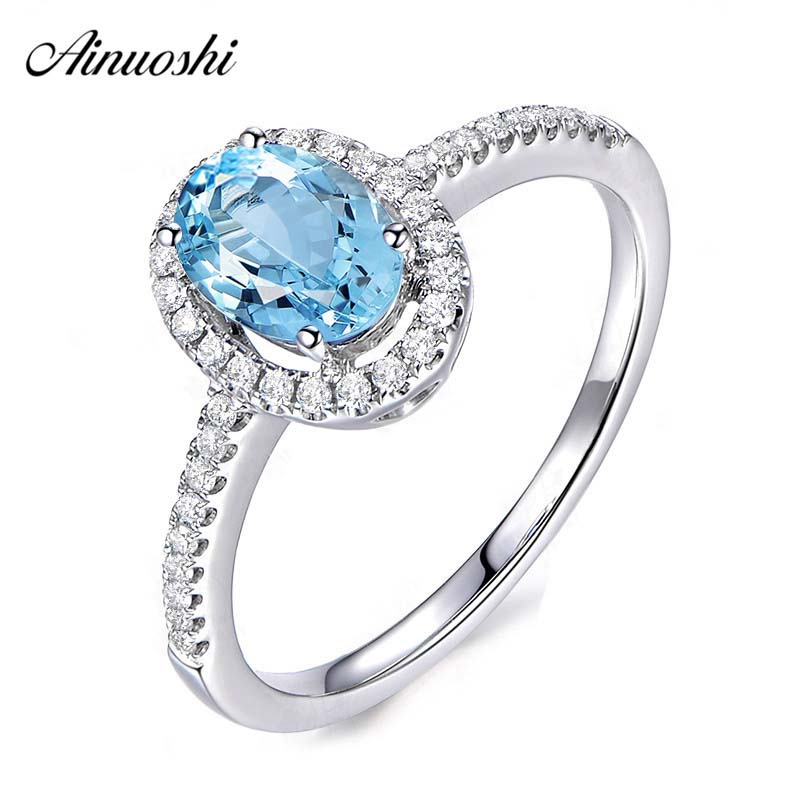 AINUOSHI 1.5 Carat Oval Cut Halo Ring Pure 925 Sterling Silver Natural Topaz Hollow Halo Ring Luxurious Wedding Engagement RingAINUOSHI 1.5 Carat Oval Cut Halo Ring Pure 925 Sterling Silver Natural Topaz Hollow Halo Ring Luxurious Wedding Engagement Ring