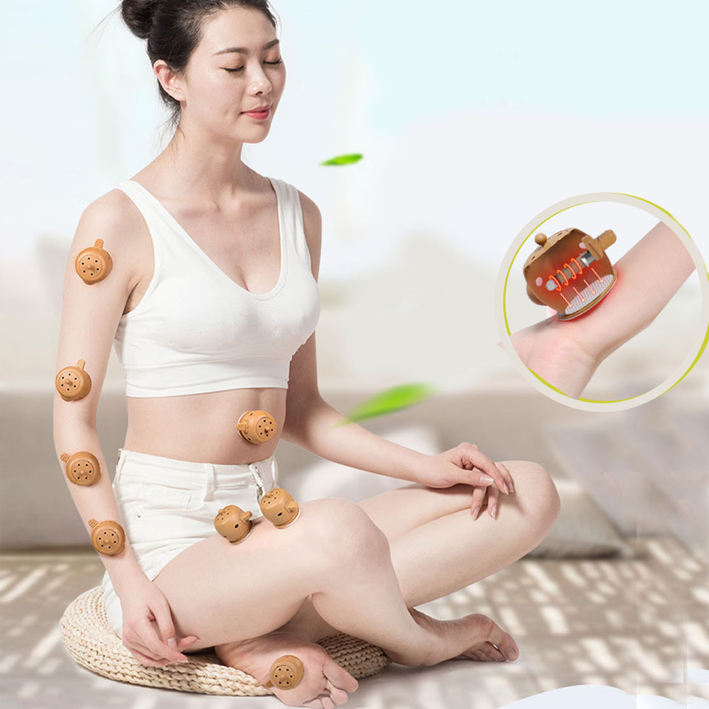 8 pcs acupuncture massage moxa box Warm moxibustion instrument with 100 pcs Chinese old Moxa sticks improve immunity Relaxation 500 3 1 mugwort ay tsao asiatic traditonal chinese medicinal materials moxa wool floss warm channel and expelling cold