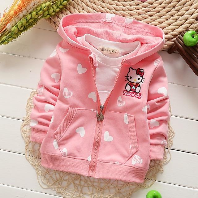 Розничная продажа 2016 новых осенью Hello Kitty одежда с капюшоном для девочек детей новый стиль с длинным рукавом Детское пальто Детская одежда Кофты