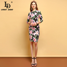 LD LINDA DELLA 2019 Summer Fashion Dresses Womens Floral Print Bodycon High Waist Elegant Vintage Party A-Line Midi