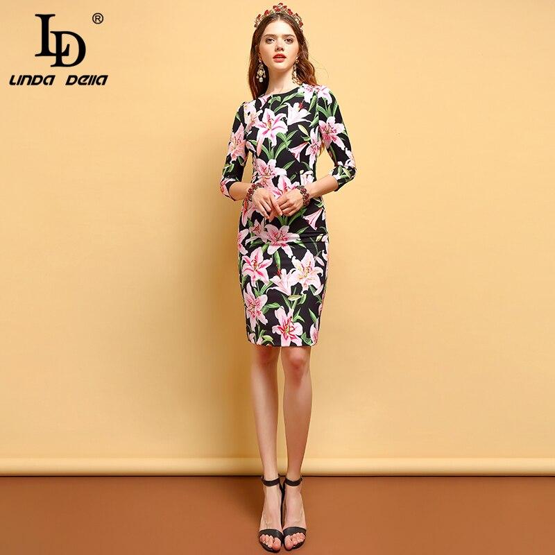 Kadın Giyim'ten Elbiseler'de LD LINDA DELLA 2019 Yaz Moda Elbiseler kadın Çiçek Baskı Bodycon Yüksek Bel Zarif Vintage Parti A Line Midi Elbiseler'da  Grup 1
