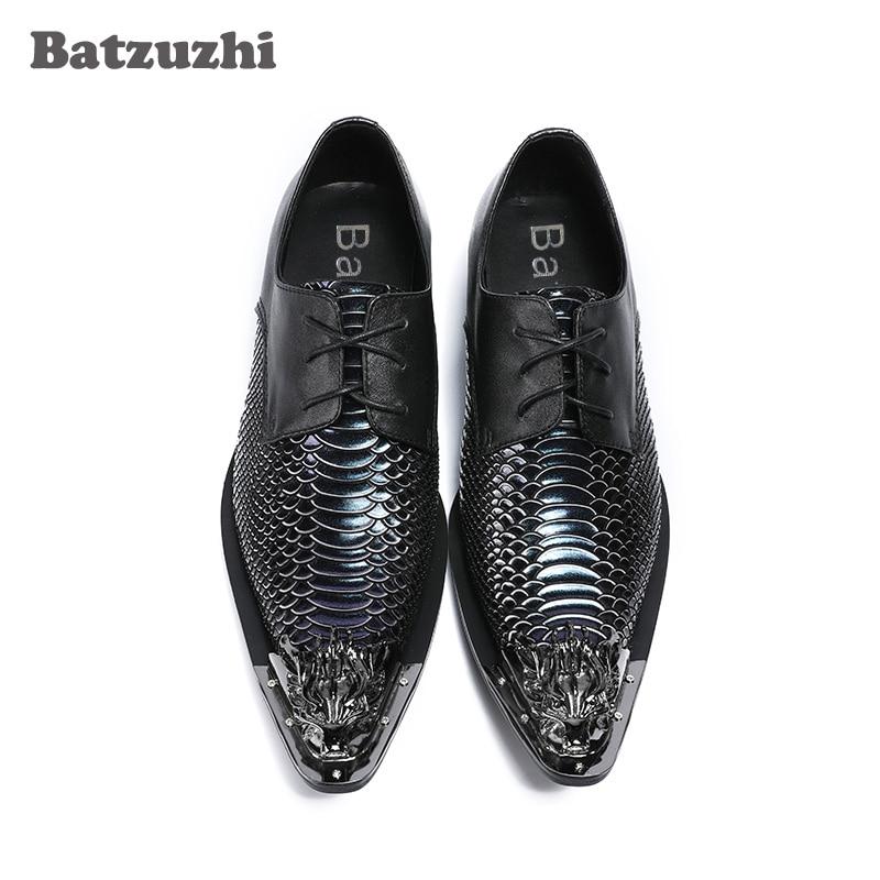 Vestir Ferro De Dedo Homens Genuínos Negócios Sepatu Peixe Apontado Batzuzhi Pria Luxo Sapatos Preto Couro Escamas qERdRw8fx