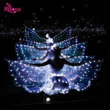 رورو الرقص الشرقي Led أجنحة إيزيس مع العصي قابل للتعديل الملحقات مرحلة الأداء الدعائم مشرقة الأبيض Led أجنحة 360 درجة