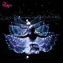 Ruoru ailes de danse du ventre Led Isis avec bâtons ajustables, accessoires de Performance sur scène, ailes blanches brillantes à 360 degrés