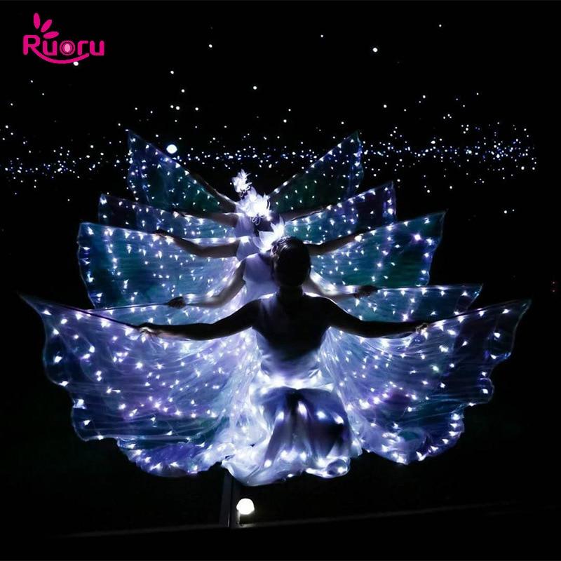 Ruoru dança do ventre led asas isis com varas ajustáveis acessórios desempenho de palco adereços brilhando asas led branco 360 graus