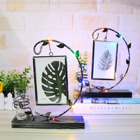 Creative Glowing Photo Frame Hydroponic Plant Vase Ornaments Hanging Iron Photo Frame Desktop Crafts Home Office Decor Gifts