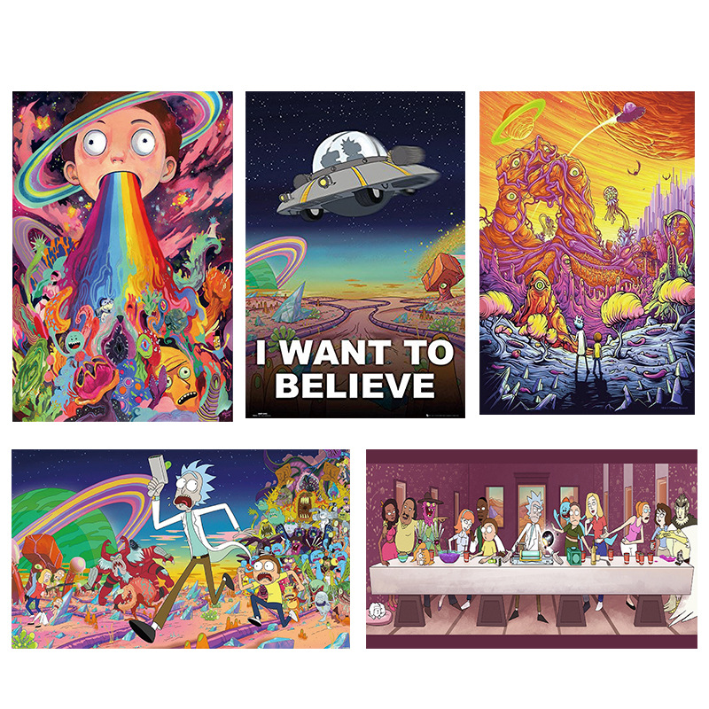 Rick And Morty's Movie Posters Spray-painted Cartoon Decorative Silk Paintings Wall Art  Wall Pictures For Living Room