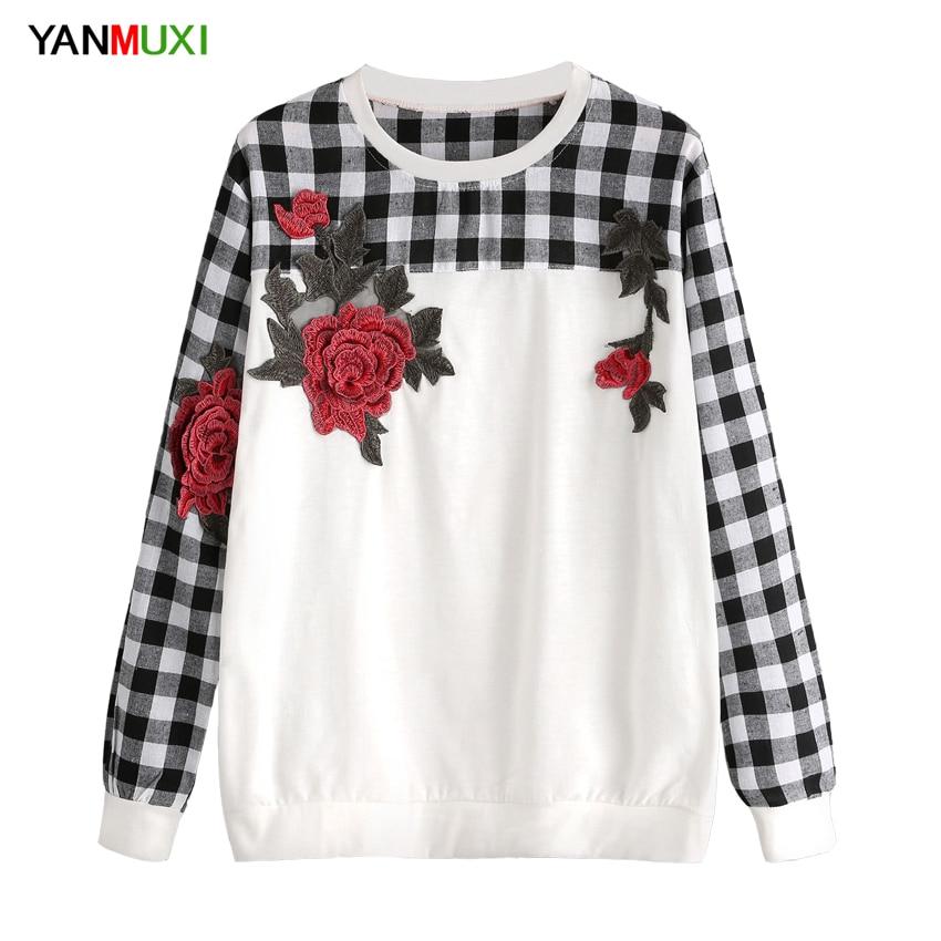 Winter Fashion Vintage Roses Applique Women Hoodies Korean Preppy Style Striped Sweatshirt Long Sleeve O-neck Hoody Pullover
