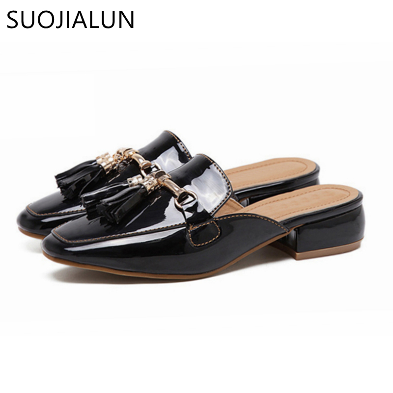 Image 5 - SUOJIALUN Brand 2018 Autumn Plus Size 36 41 Women Slipper Square Toe Flat Woman Slippers Slip On Mules Metal Buckle Slides-in Slippers from Shoes