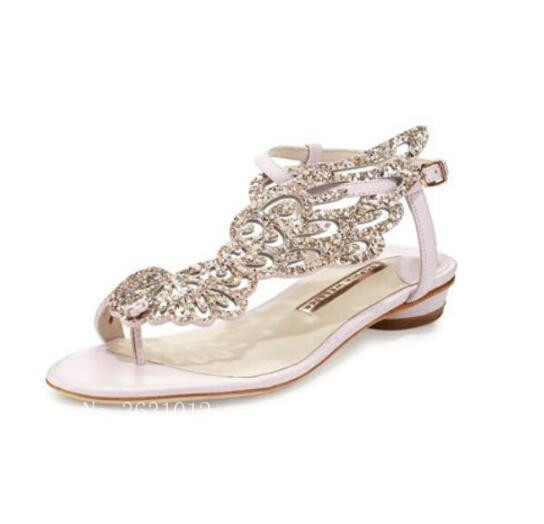 De Femme Embelli Gladiateur Pic Pic As Parti Nouveaux 2019 Bling Papillon Ange as Sandales Ailes Rose Cristal Chaussures Mariage Luxe Appartements Or 8xY7T4