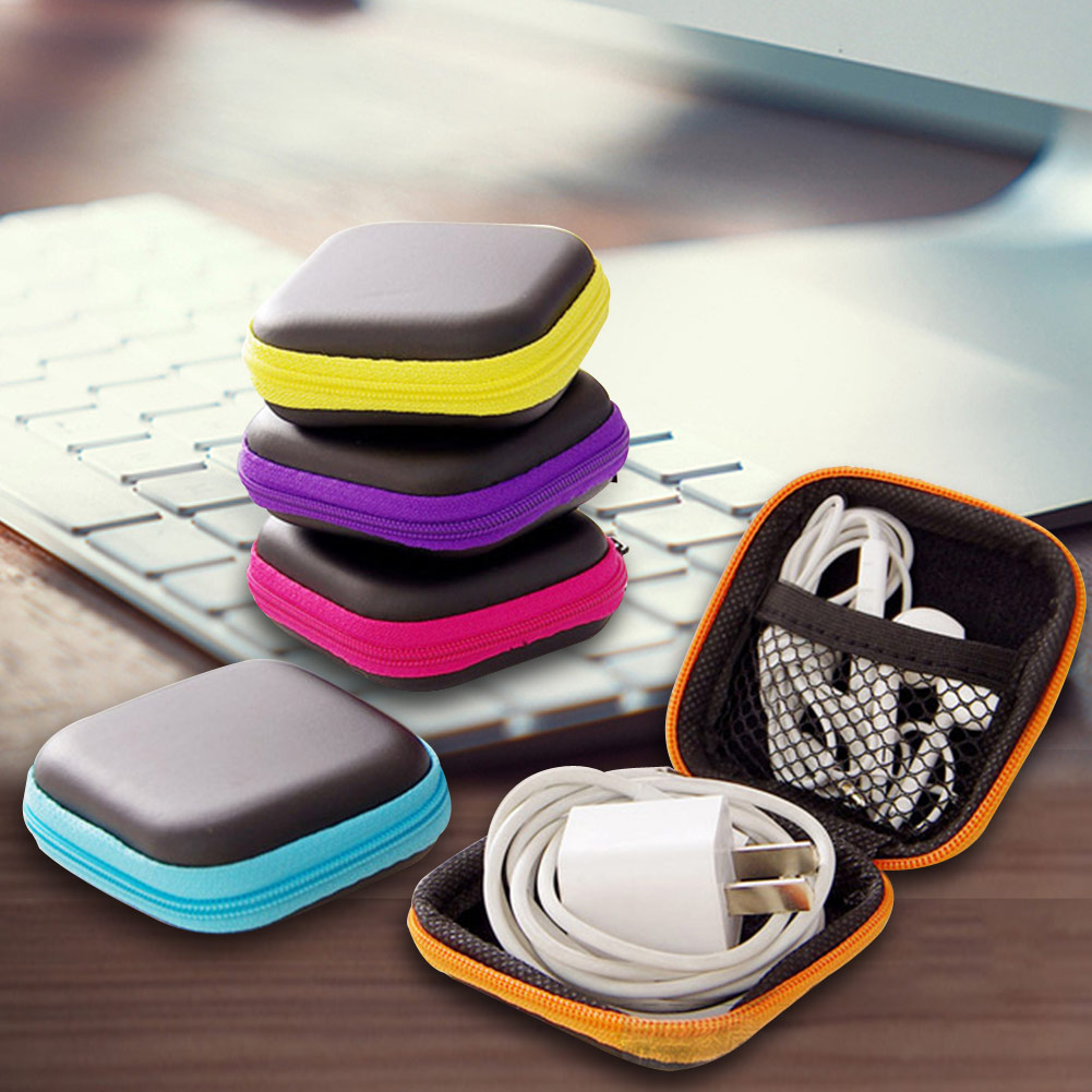 Mini Square Headsets Packages Box Headset Bluetooth Data Line USB SD Card Cable Storage Bag Headphone Protective Storage Box
