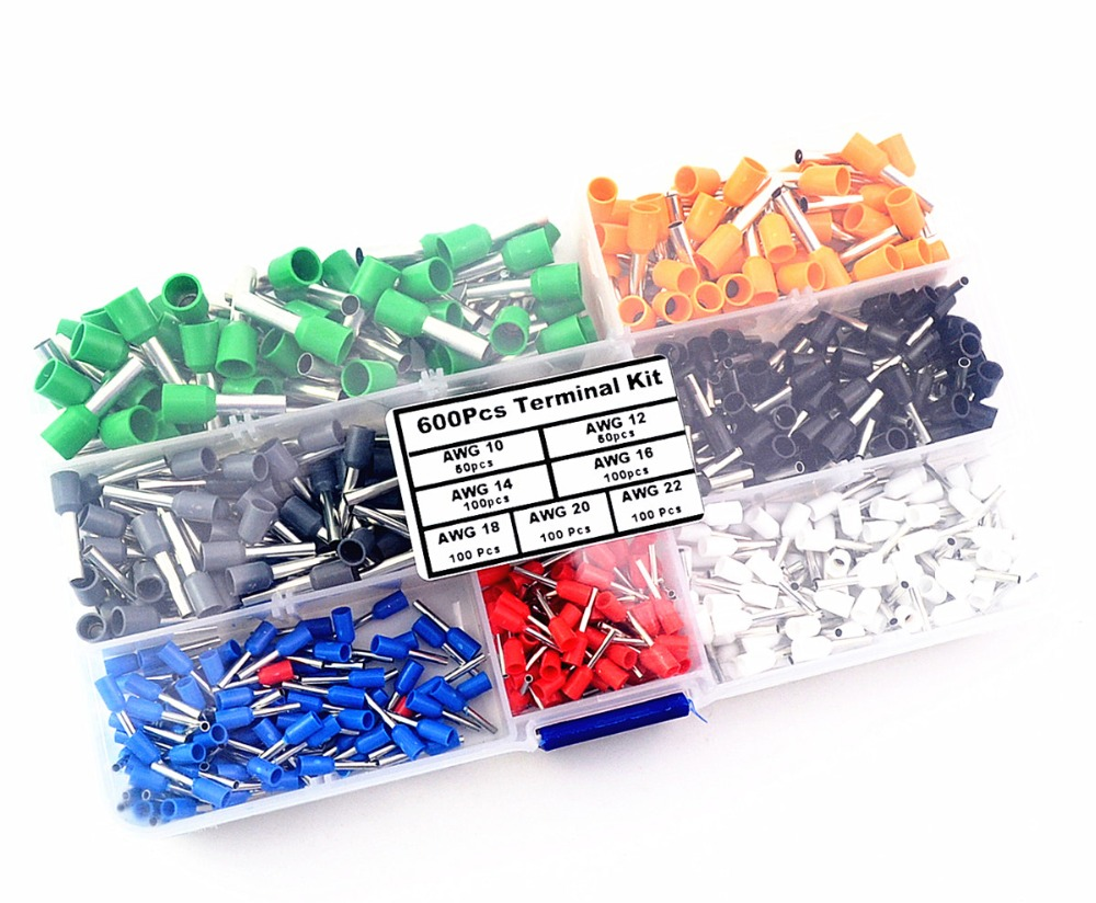600Pcs Insulated Cord End Terminal Bootlace Cooper Ferrules Kit Set Wire Copper Crimp Connector 1000pcs lot en0206 naked insulated tube terminal block cord end terminal wire ferrules