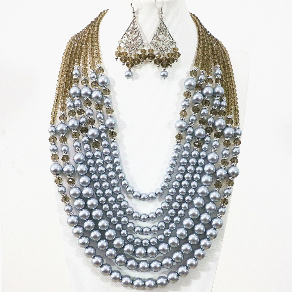 Cute elegant silver gray 7 rows necklace earrings round shell simulated pearl crystal beads unique diy jewelry set B1311