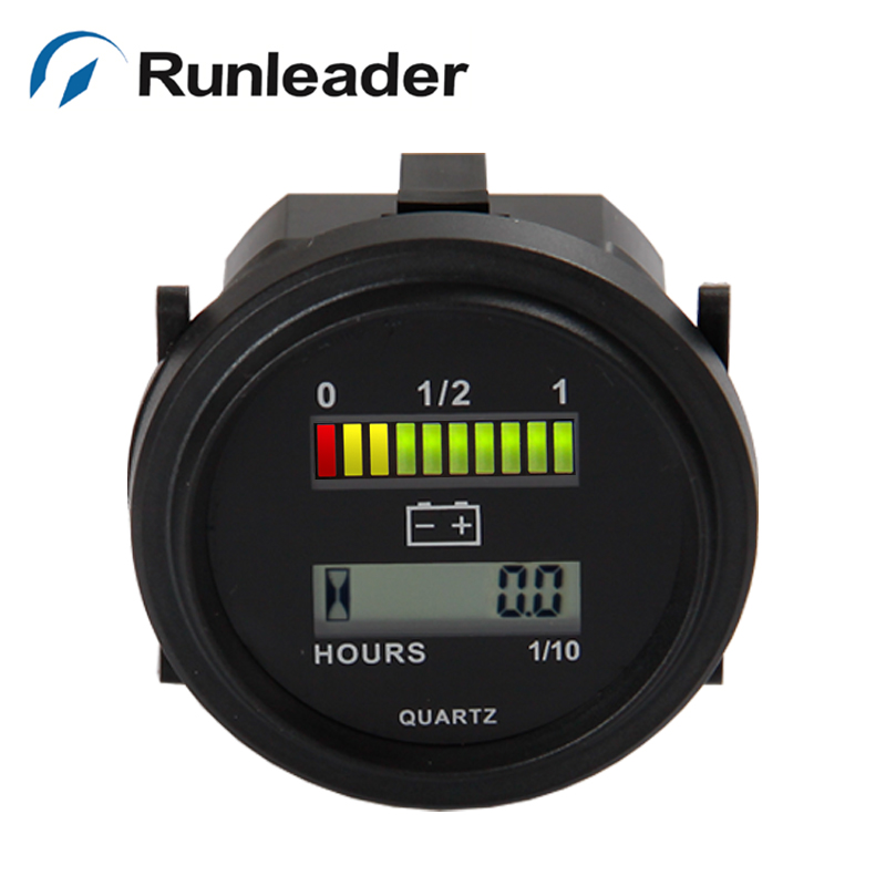 Runleader BI004 QUARTZ LED Battery Indicator Digital Hour Meter for DC Powered Unit electric cleaner 12V 24V 36V 48V 72V image