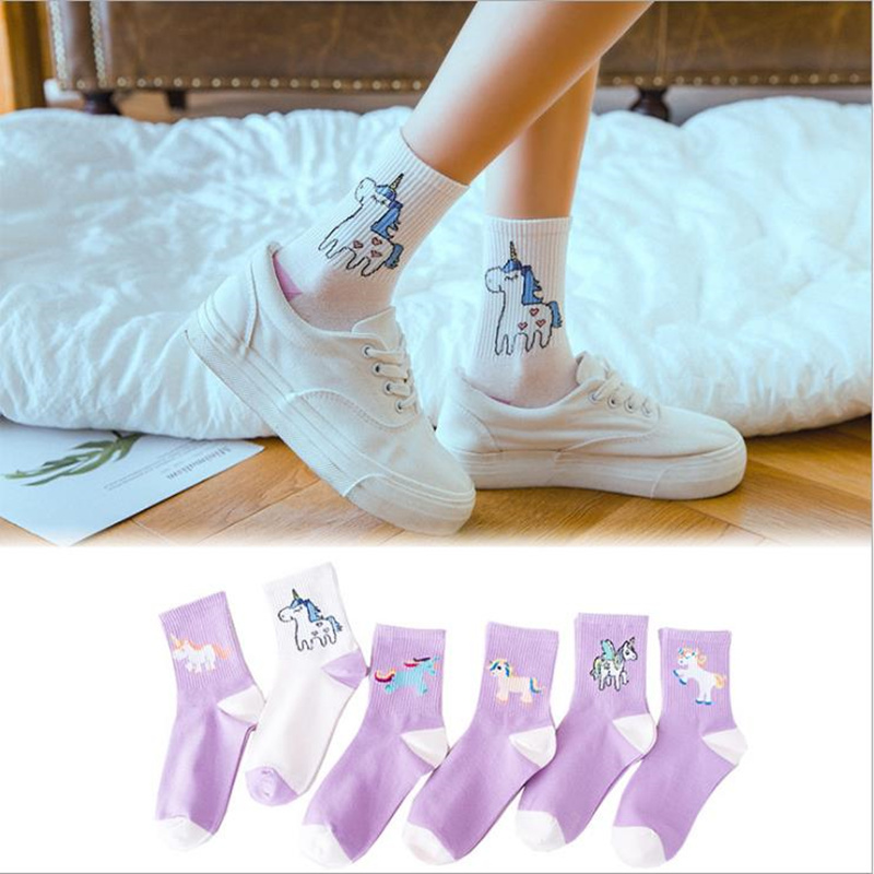 Sexy Fall Women Cotton Unicorn Socks Cartoon Animals Popular Funny Socks Printed Cartoon Unicorn Pattern Art Happy Socks