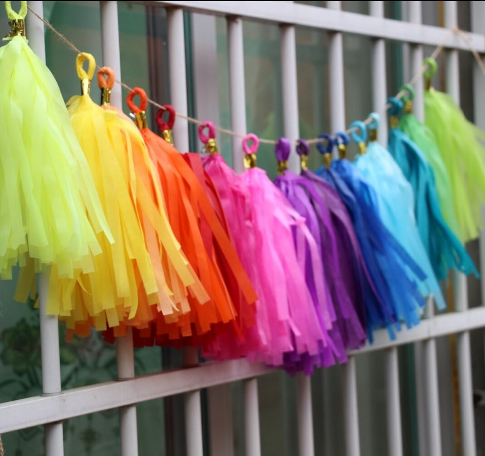 16pcs Rainbow Party Banner Kit Tissue Tassel Garland Diy Outdoor Decorations Back To School Paper In
