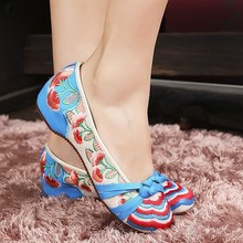 Big Size 41 Classical Women's Shoes Mary Jane Flat Heel Canvas Flats With Flower Embroidery Casual Dancing Shoes SMYXHX-0009