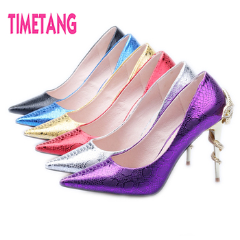 New Arriaval Unique Metal Crystal Snake Decoration Fashion Pointed Toe High Heel Shallow Mouth Women Pumps Party shoes/stiletto