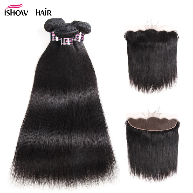 Ishow Indian Straight Hair Bundles With Frontal Non Remy Human Hair Bundles with Closure 3 Bundles
