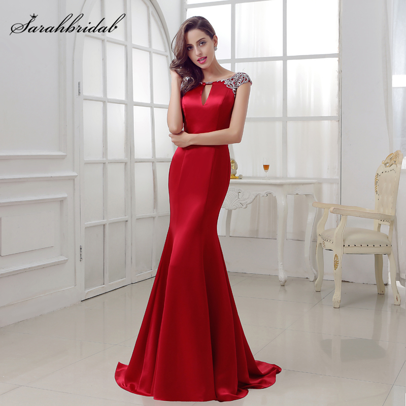Sexy Burgundy   Prom     dresses   long ballkleider 2017 Mermaid jewel Zipper Sexy Back Floor Length and SATIN Crystal Beading LSX286