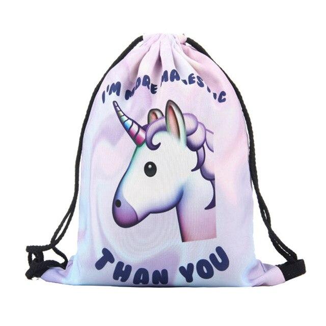 89fe92953 Animal dos desenhos animados do unicórnio mochila de Viagem saco Mochila  saco de cordão criança menino