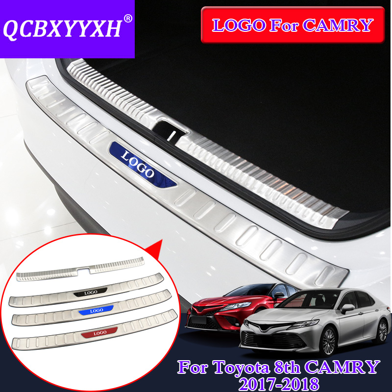 QCBXYYXH Car Styling Internal And External Car Rear Door threshold Trim Decoration Accessory For Toyota Camry 2017 2018 ...