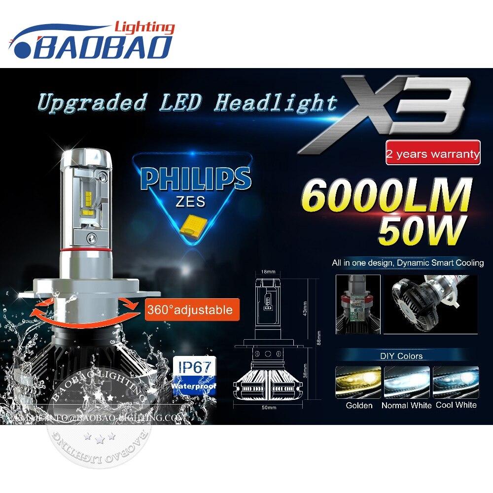 Top qualité voiture led phare kit X3 utiliser Philips ZES Gen2 puces 50 W 6000LM 6500 k 8000 k phare de voiture H4 H7 H11 9005 9006