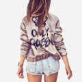 Fashion Letters Printed Women Bomber Jacket 2016 New Spring Autumn High Quality Slim Ladies Basic Coats abrigos mujer