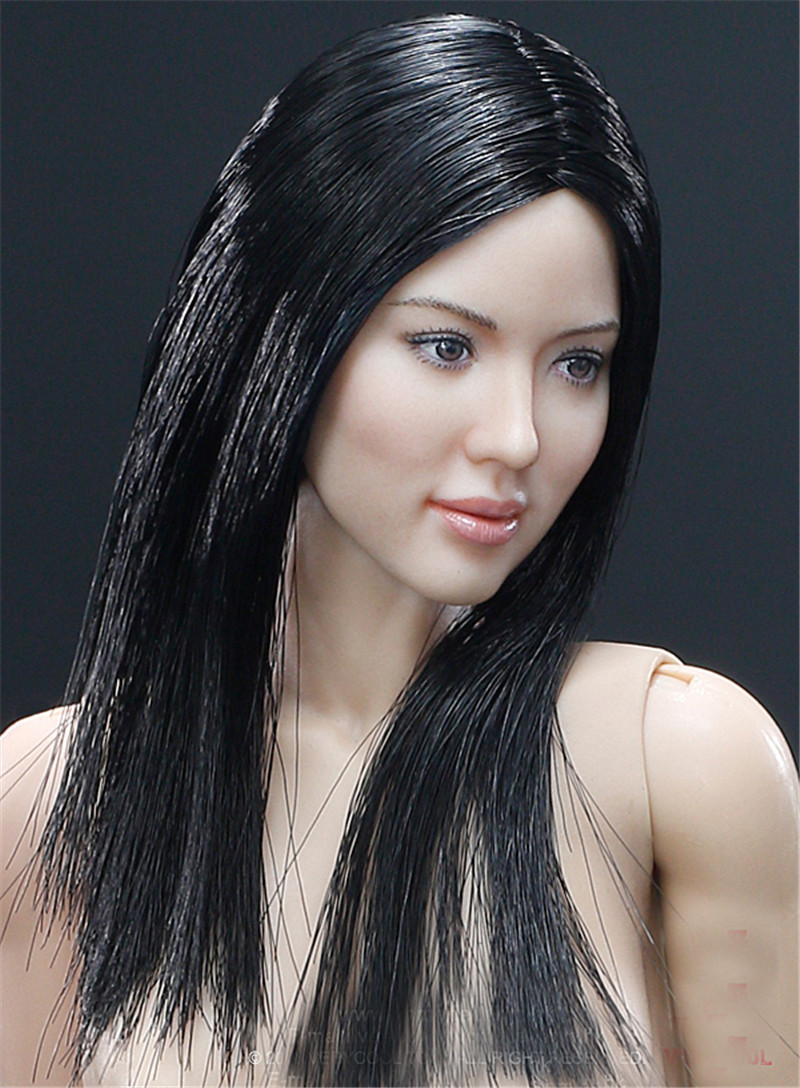 Mnotht 1/6 Asian Head Sculpt+VC 3.0 Female Body Sets W Soft Breast FX04B/FX04A Straight Hair &Wavy Hair Solider Head Carving l30 mnotht head sculpt 1 6 bruce wayne