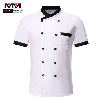 Men Women Double Breasted Short Sleeve Stitching Color Kitchen Restaurant Uniforms Breathable Food Service Chef Jackets Aprons