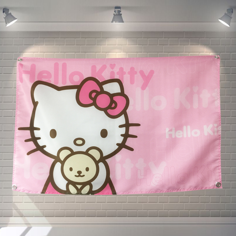 HELLO KITTY Cartoon Movie Poster Banners Children's Room Wall Decoration Hanging Art Waterproof Cloth Polyester Fabric Flags