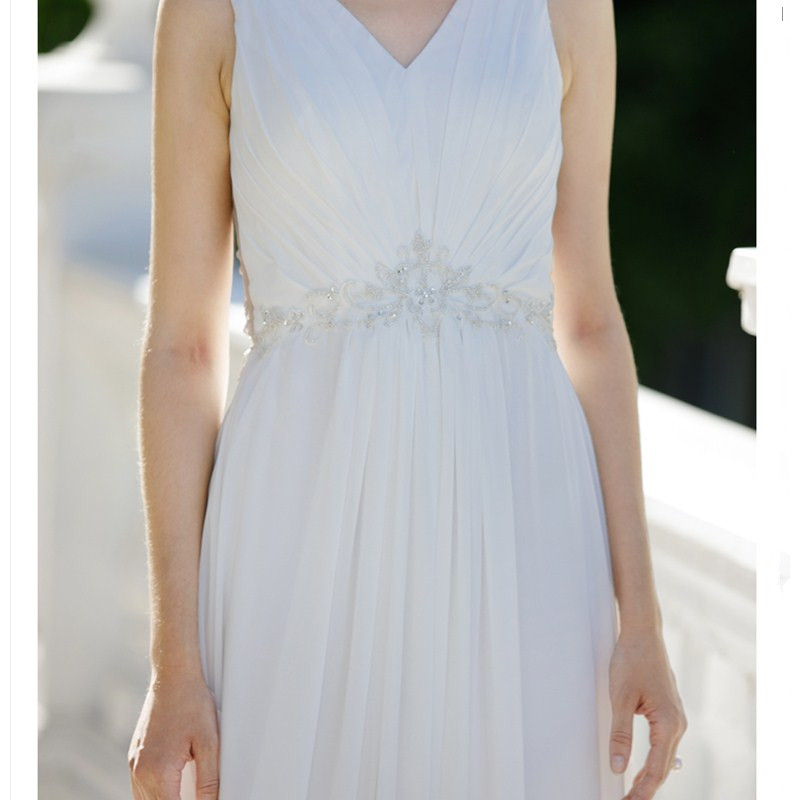 LAN TING BRIDE Sheath Column Wedding Dress Sleeveless V neck Sweep ...