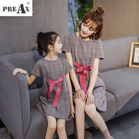 Mother and Daughter Clothes Dress for Girl Spring Summer Plaid Bow Tie Belt Dresses Family Clothes Mother Daughter A line Dress