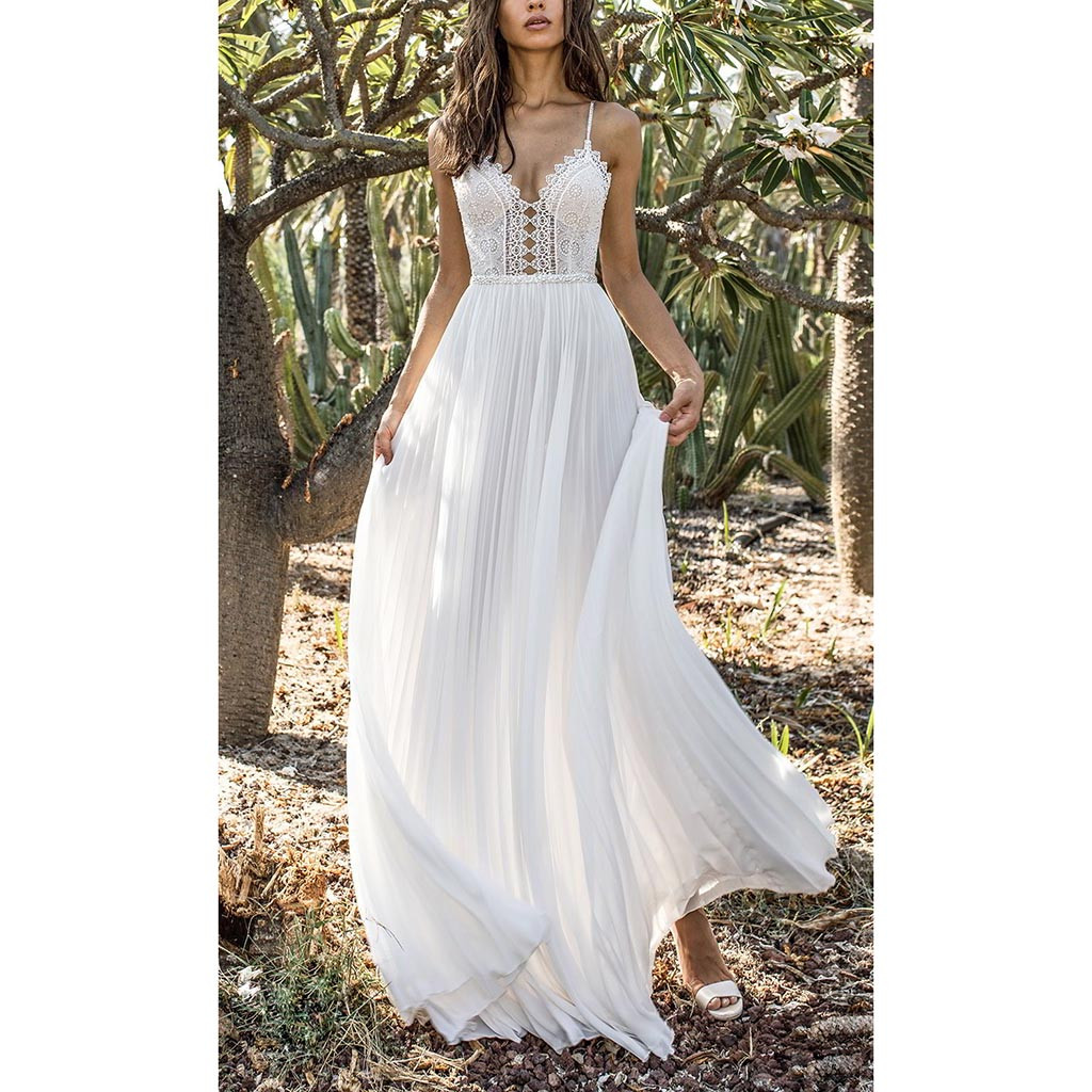 2019 Summer Sexy Women Chiffon Sequin White Camis Back Hollow Long Party Elegant Gown Dress Robe Femme Sukienki Vestidos Vestido