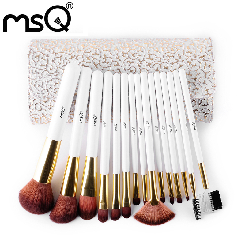 New Maquiagem 15pcs MSQ Brand High Quality Makeup Brushes Set mermaid brushes Soft Synthetic Hair Cosmetic Tool PU Leather Case brand msq high quality synthetic hair foundation makeup brush with painted wood handle for fashion beauty new cosmetic tool