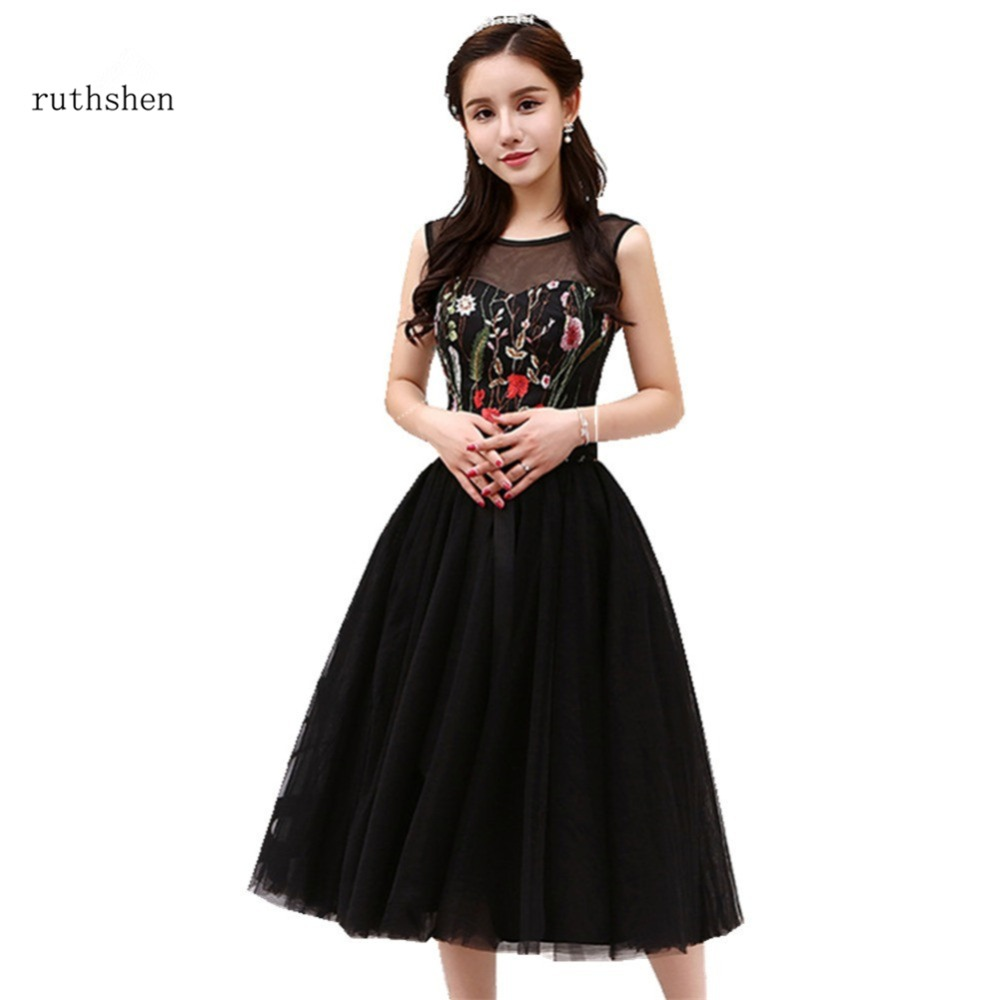 ruthshen Black   Prom     Dresses   2018 New Arrival Short Embroidery Flower Cocktail Party   Dress   Vestidos Festa Curto