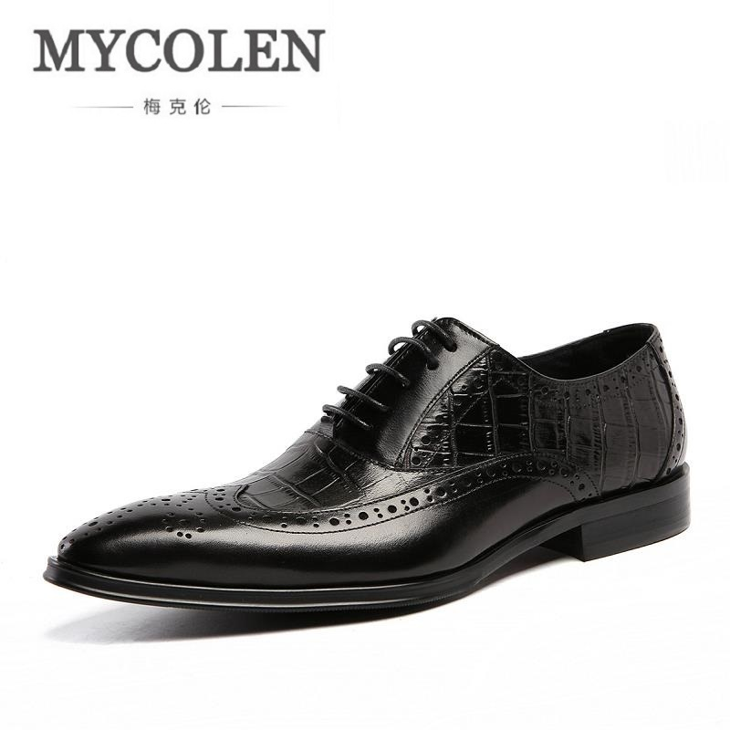 MYCOLEN Luxury Handmade Brogue Men Formal Shoes Male Comfortable Business Oxfords Lace Up Pointed Toe Flats Erkek Spor Ayakkabi 2017 men shoes fashion genuine leather oxfords shoes men s flats lace up men dress shoes spring autumn hombre wedding sapatos