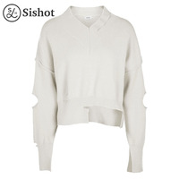 Sishot Women Casual Knitwear 2017 Autumn Winter White Plain Loose Long Sleeve Sexy Hollow V Neck