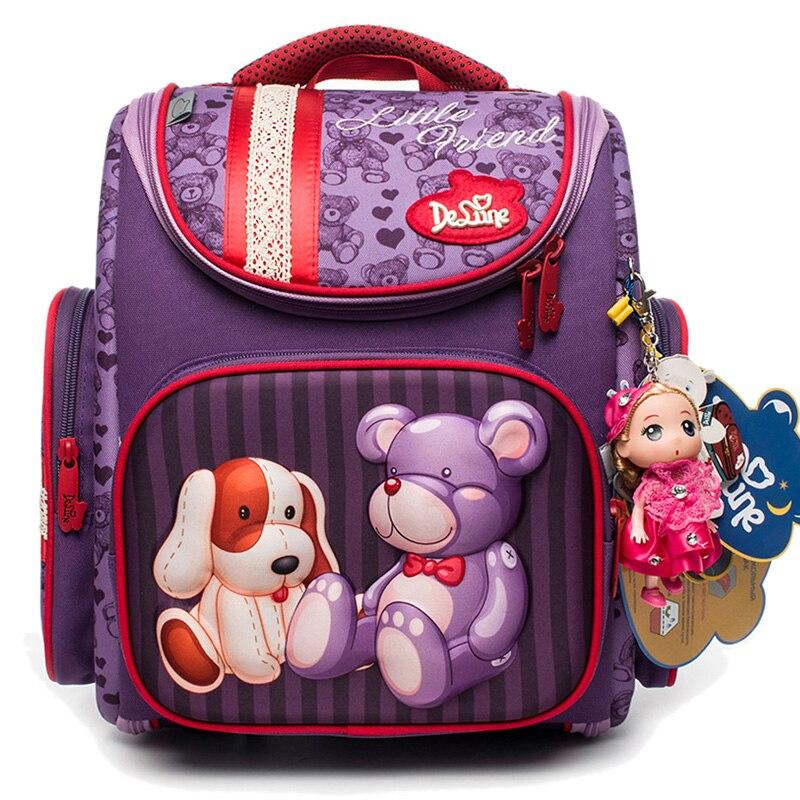 Cartoon School Bags Orthopedic School Backpacks for Girls Boys Bear Tank Car Pattern Backpack Student mochila
