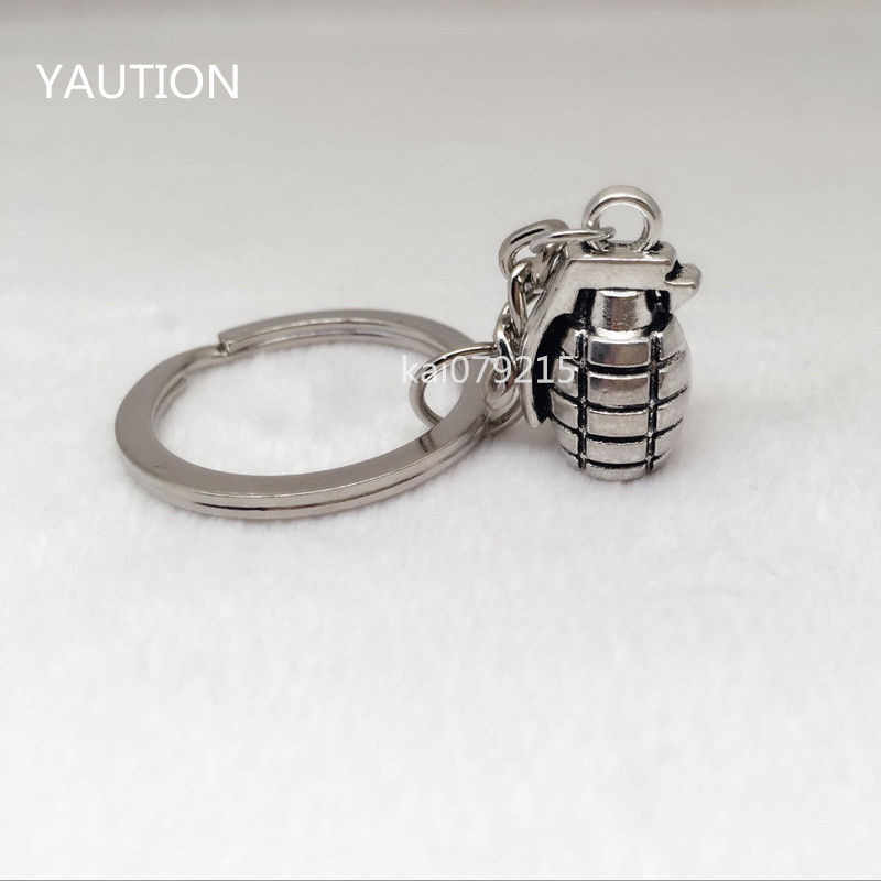 1Pcs Daily Life Inspired New Silver plating 3D Military Grenade Pendant Keychain