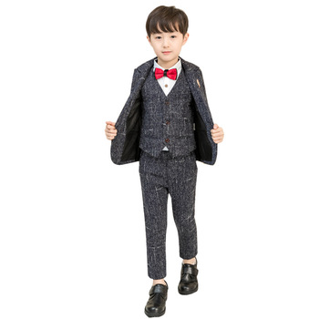Kids Formal Costumes Baby Boy Suits for Weddings Enfant Garcon Mariage Boys Blazer Kids Black Suit Z5