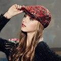 Kenmont Зима Осень Женщины Леди Девушка Красный Хлопок Акрил Красный Повседневная Газетчик Cabbie Visor Hat Плющ Cap 2366