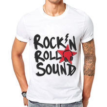 цена Rock N Roll Sound Letter Printed Men T Shirt Short Sleeves 100 Cotton O-Neck White Mens T-Shirts Youth Hipster Music Tee Shirts в интернет-магазинах