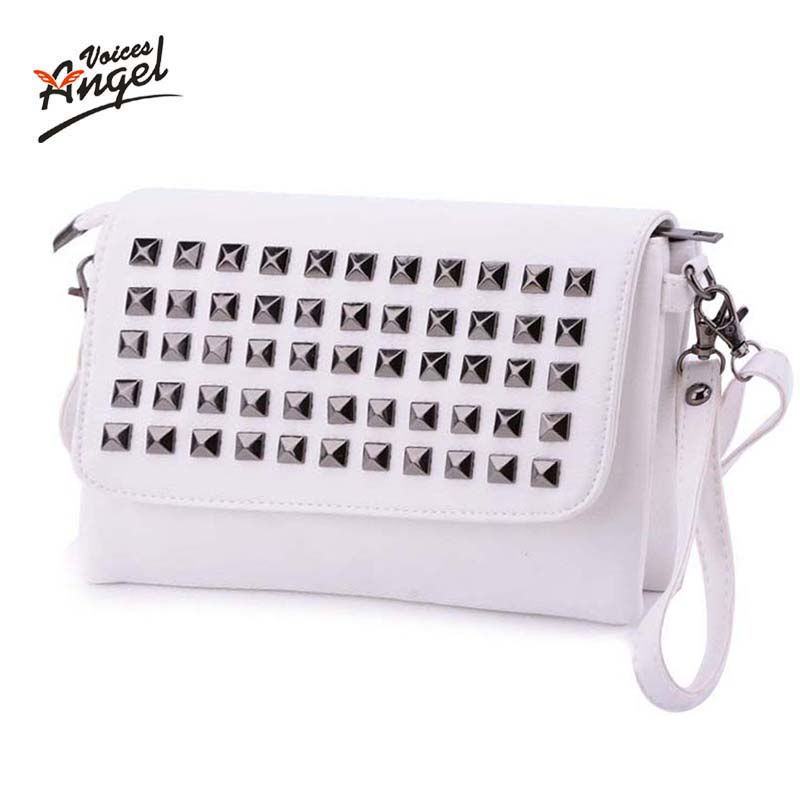 Angel Voices Women Bag Leather Handbags Crossbody Shoulder Bags Fashion Rivet Messenger Bag Women Handbag Bolsas Femininas White steve cockram 5 voices
