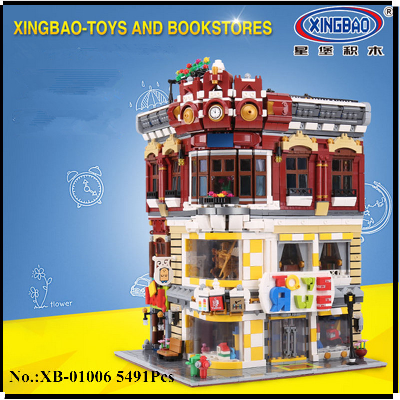 IN STOCK XingBao 01006 Block 5491Pcs Genuine Creative MOC City Series The Toys and Bookstore Building