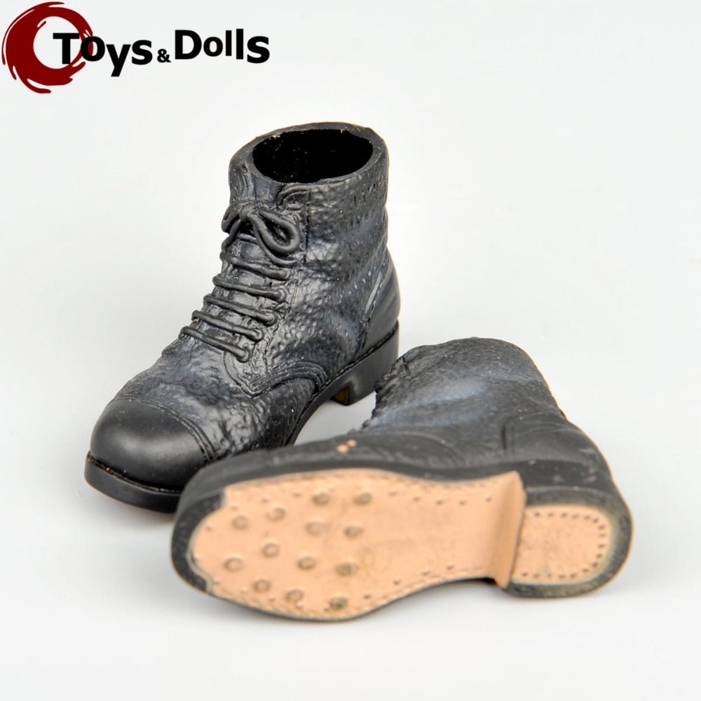 (1Pair) In Stock 1/6 Scale WWII Men Doll Custom Black Short Boot Leather Shoes For 12 Action Figure Doll Toys Accessories E